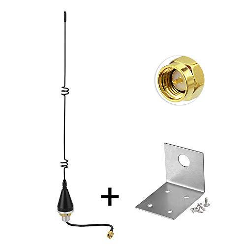 Eightwood Außen 3G 4G Antenne 5dBi SMA Stecker Adapter 10cm RG174 Kabel Antennenbefestigung Grundlochbefestigung L Halterung für 3G 4G/GSM/UMTS/CDMA/GPRS 2G 3G 4G Router LTE Bluetooth MiMo SIM Karte