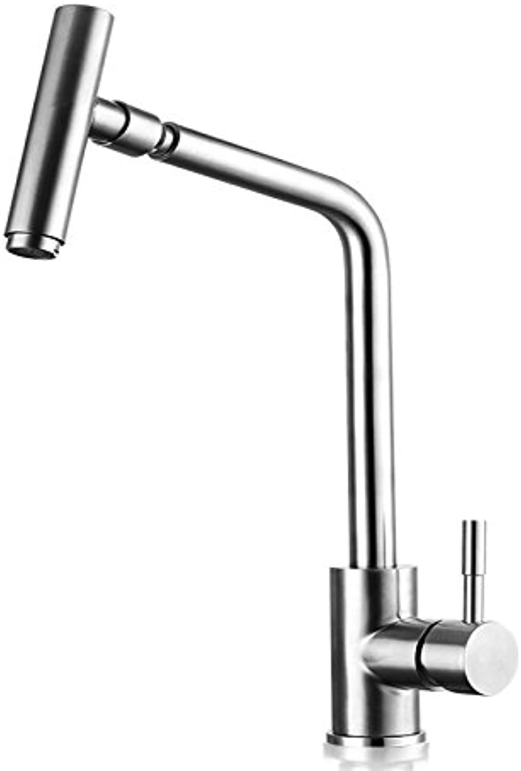 YAWEDA Kitchen Washing Basin Hot and Cold Water Faucet 304 Stainless Steel Sink Faucet Wire Spinning Swivel Swinging Mouth Cold and Hot Faucet 360 Degree redary Lead Environmental Predection Faucet