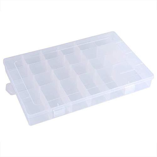 Skitior apilable 24 ranuras de plástico ajustable caja de almacenamiento contenedor organizador casa tapa tapa
