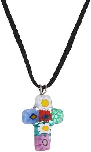 Halsanhänger Kreuz, mehrfarbig, aus venezianischem Muranoglas, mit Schnur