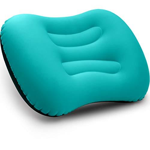 BETUS DREAMER COMFORT Ultralicht opblaasbaar luchtkussen - samendrukbaar, compact, comfortabel, ergonomisch kussen voor nek- en lendensteun voor reizen, backpacken en kamperen (turkoois)