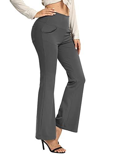 Hiverlay Bootcut Flare Pants Slacks for Womens Dress Pants for Work Yoga Pants High Waist with Pockets Tummy Control Dark Gray-m