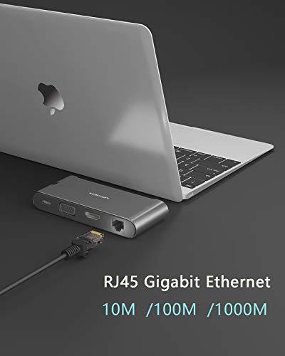 UPVICH USB C Hub,7 in1 USB C Adapter mit HDMI 4K,VGA 1080p,3 USB 3.0,1000/M Ethernet,PD 100W Port Kompatibel mit MacBook Pro 2016 zu 19,Air 18/19,iPad Pro 18/19,ChromeBook,XPS,Galaxy S8/S9 und mehr