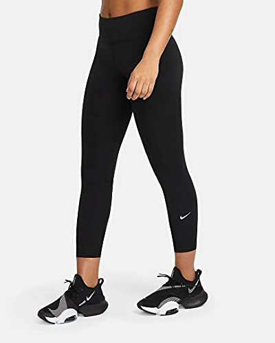 Nike Damen W ONE Tight MR Crop 2.0 Leggings, Black/(White), L
