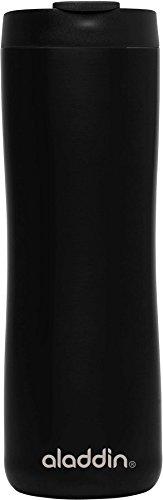 Aladdin Edelstahl-Thermobecher, 0.47 Liter, Mattschwarz, Doppelwandig Vakuumisoliert, Auslaufsicher, Spülmaschinenfest, Kaffeebecher Isolierbecher Thermo-Becher
