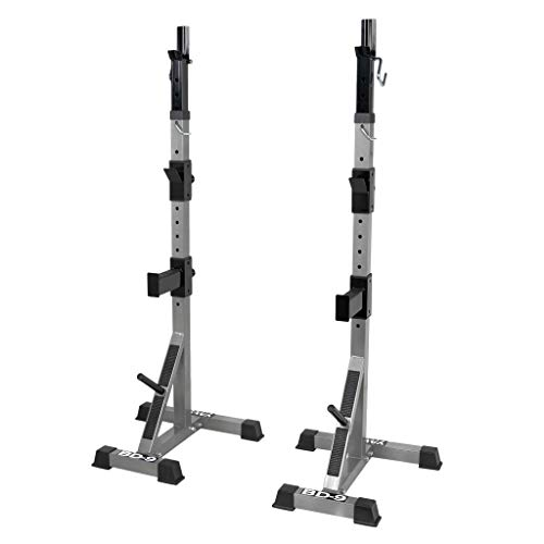 Valor Fitness BD-9 Independent Power Squat Stands with Adjustable Uprights, J-Hooks, Bar Catches, and Safety Catches