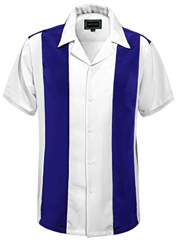 Guytalk Mens Button Down Bowling Shirt, Cuban Style Retro Two Ton Camp Shirt RoyalBlue White-XL