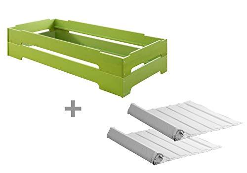 BioKinder 23614 set van 2 Kai stapelbedden met oprolbare lattenbodems van massief houten grenen 90 x 200 cm groen geglazuurd