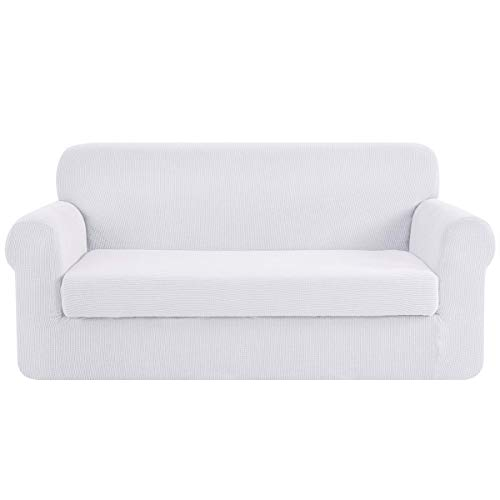 CHUN YI Stretch Sofa Slipcover 2-Piece Couch Cover Furniture Protector, Settee Coat Soft with Elastic Bottom, Checks Spandex Jacquard Fabric, Large, White
