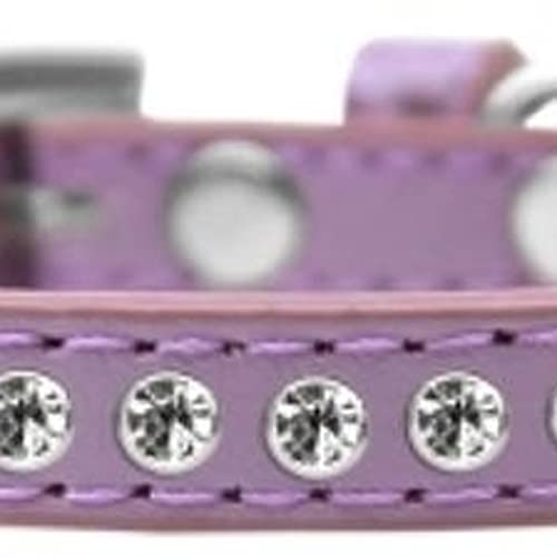 Mirage Pet Products Clear Crystal Puppy Dog Collar, Size 8, Lavender