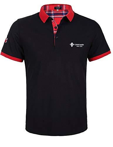 COOFANDY Herren Poloshirt Kurzarm Slim Fit Polohemd Brusttasche Klassische Karierte Golf T-Shirt Schwarz M
