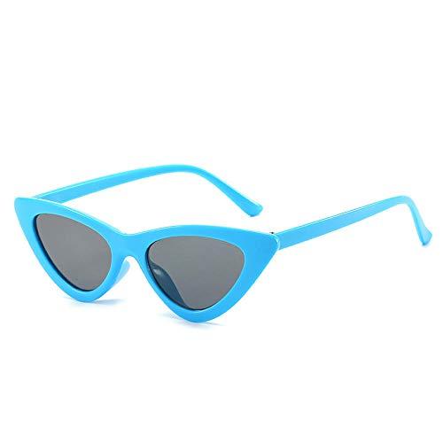 hqpaper Gafas de sol Gafas de sol europeas y americanas Gafas de sol de moda con montura pequeña triangular Gafas femeninas-Marco azul Película negra y gris