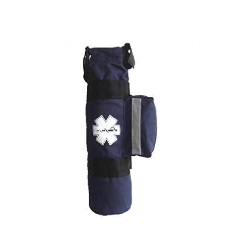 LINE2design Oxygen Cylinder Sleeve Bag - EMS Emergency Medical Portable Travel Size Cylinder Bag with Star of Life Logo - Side Pockets and Two Adjustable Side Straps - Navy