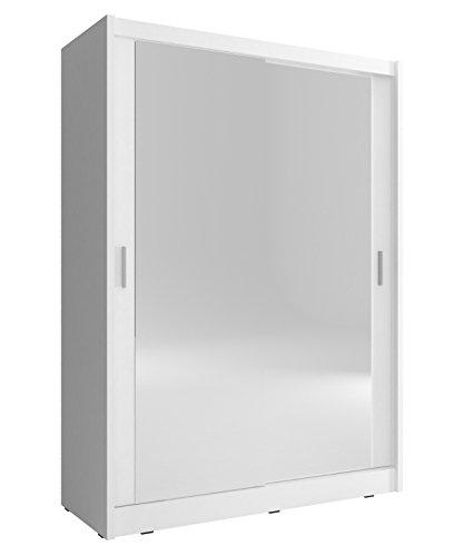 Kleiderschrank mit Spiegel Schrank Gaderobe Schiebtüren Borneo A2 (Weiß, 130 cm)