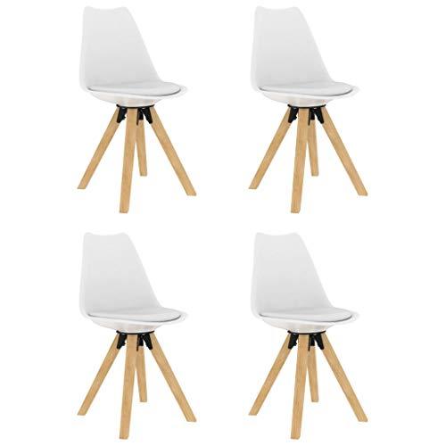 vidaXL 4X Buchenholz Massiv Esszimmerstuhl Küchenstuhl Wohnzimmerstuhl Stuhl Set Stühle Essstuhl Esszimmerstühle Stuhlgruppe Weiß PP