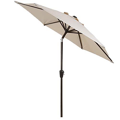 Sombrillas para Patio Beige Pequeño 7.3 Pies Patio Patio Jardín Paraguas con Botón de Inclinación, Manija Giratoria, 8 Costillas, Paraguas de Mesa de Mercado Al Aire Libre