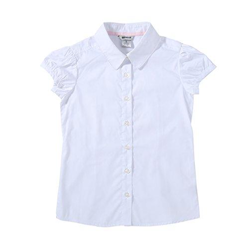 Bienzoe Mädchen Schuluniformen Oxford Blusen Weiß L