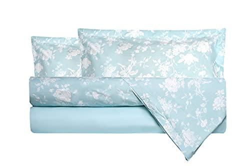 Completo letto lenzuola in 100% puro cotone percalle Made in Italy MATRIMONIALE FIORELLINI VERDE ACQUA