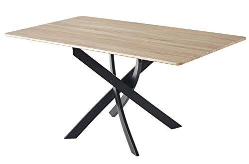 Skraut Home - Tavolo da Pranzo, Modello Zen, DM Colore Rovere, Gambe Metalliche Nere, 140x80x75cm.