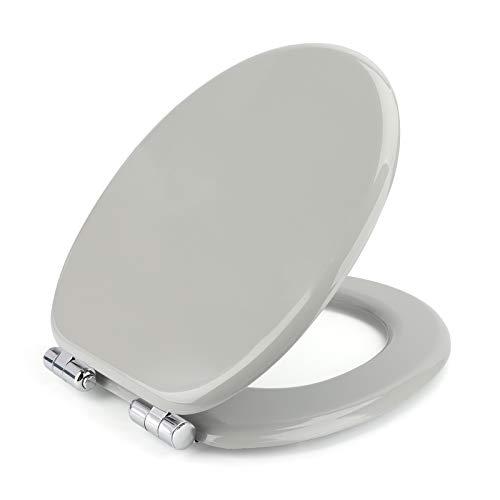 Toilettendeckel Carttiya WC Sitz mit Absenkautomatik Motiv Klodeckel in Standard O-Form,Toilettensitz aus Holz mit einstellbares Edelstahl-Scharnieren,Fast-Fix Klobrille Toilettenbrille (Grau)