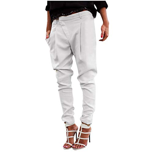 Damen Anzughose Kolylong Frauen Haremshose Jogginghose mit Knopfleiste Boyfriend Chino Stoffhose Sweatpants Baggy Freizeithose Trainingshose Loose Fit Jogger