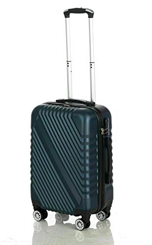 Cabin Hand Luggage Suitcase Ryanair 4 Doubled Wheeled ABS Travel Case (Navy Blue)