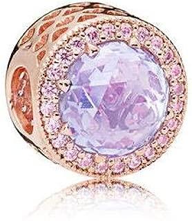 Pukido 2018 Mother's Day Lavender Radiant Hearts Charm fit Pandora Bracelet 925 Sterling Silver Rose Gold Color & Pink CZ Beads. - (Color: FL737)