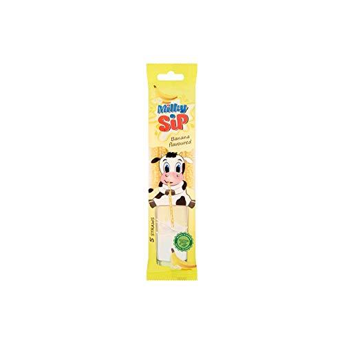 Milky Sip Strohhalme 120 Stück - 24 Packungen je 5 Trinkhalme in Bananengeschmack