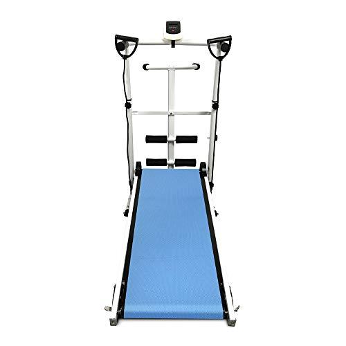 Flyelf Manual Tapis de Course, Tapis de Marche avec écran LED, Courir, Sit-ups et Twist 145 * 54 * 110cm (Bleu)