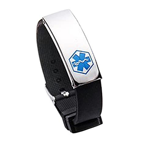 QiKun-Home Signos médicos Pulsera Ajustable Hombres y Mujeres Pulsera Amantes Accesorios joyería de Moda Azul