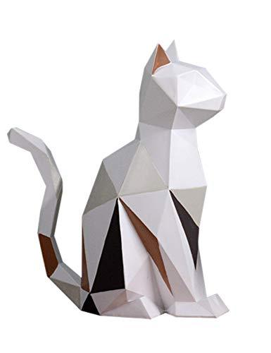 Amoy-Art Gato Geométrico Figura Escultura Decorativa Regalo Estatua Decoración del Hogar Hecho...