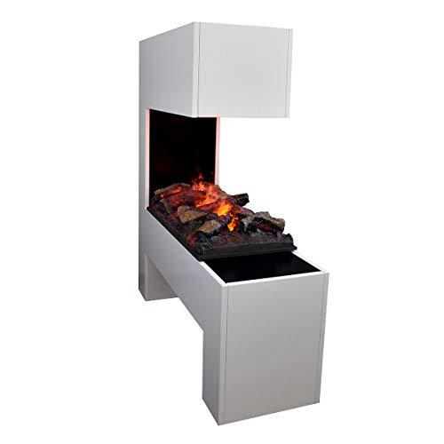 GLOW FIRE Mozart Elektrokamin Opti Myst Cassette 500 mit Holzdeck L, 3D Wasserdampf Feuer, elektrischer Raumteiler Standkamin mit Fernbedienung | Regelbarer Flammeneffekt, 120 cm, Weiß