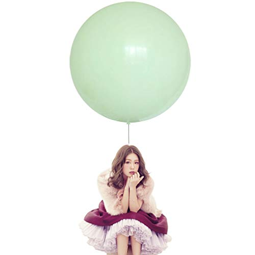 IN-JOOYAA 36 Inch Big Round Balloons 5 Pack Macaron Green Thick Giant Balloons for Photo Shoot Wedding Baby Shower Birthday Party Decorations