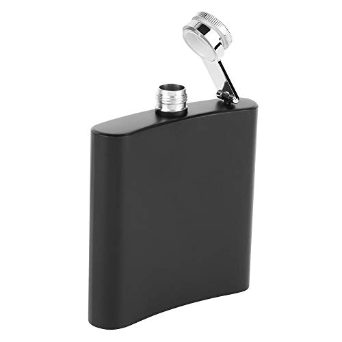 Duokon Flachmann fles hoogwaardige draagbare roestvrij stalen U-vormige alcohol whisky fles kruik spray mat zwarte lak 6 oz