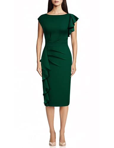 AISIZE Women Pinup Vintage Ruffle Sleeves Cocktail Party Pencil Dress X-Large Dark Green