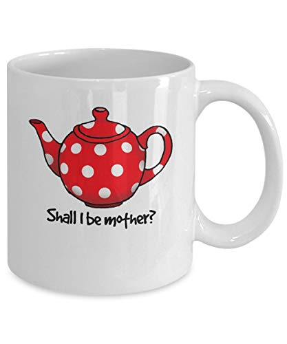 Taza divertida de té o café con diseño de lunares rojos en blanco de 315 ml, taza de café de cerámica resistente al calor, taza de té de cerámica