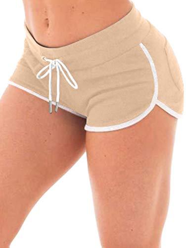 XXTAXN Damen Sexy Booty Running Workout Yoga Shorts Club Hot Pants mit Gesäßtaschen - Gelb - Groß