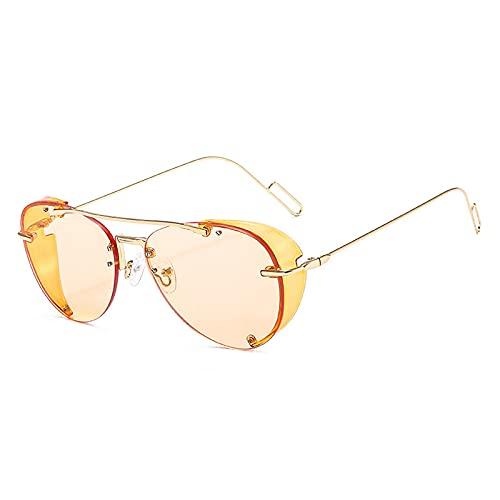 Gafas De Sol Gafas De Sol Steampunk De Piloto De Metal para Hombre con Protectores Laterales, Gafas De Sol con Montura Grande De Estilo De Moda para Mujer, Retro Uv400 C4Gold-Lightbrown