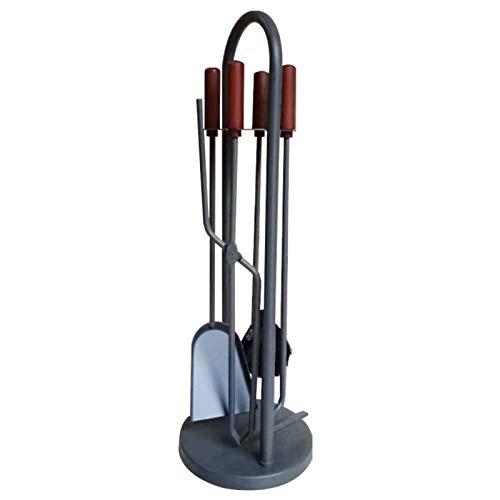 Kaminbesteck Schmiedeeisen Kamin Werkzeuge Sets mit Holzgriffen, Wohnzimmer Kamin Dekor Zubehör, für Home Office & Shop, 5 Stücke (Size : 18×18×71 cm)