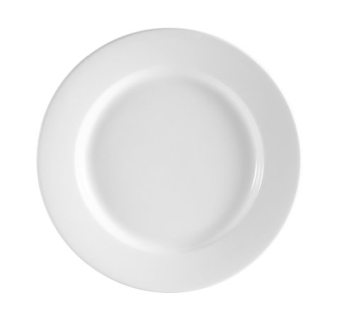 CAC China Pack of 24 RCN-9 Clinton Rolled Edge 9-1/2-Inch American White Porcelain Plate, Box of 24