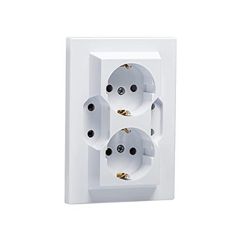 4-fach Unterputz Schukosteckdosen Scutzkontakt Steckdose Einbau Steckdose IP20 (5403 Weiss)