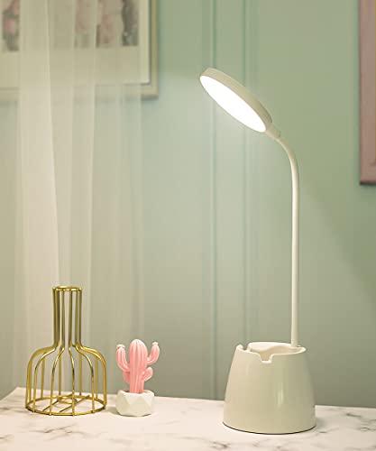 Grelae Lámpara Escritorio LED, Flexo LED Escritorio con Portalápices y Soporte Móvil, 3 Niveles de Brillo, Lámparas de Mesa USB Recargables Regulable, Control Táctil, Diseño de cuello de cisne de 360°