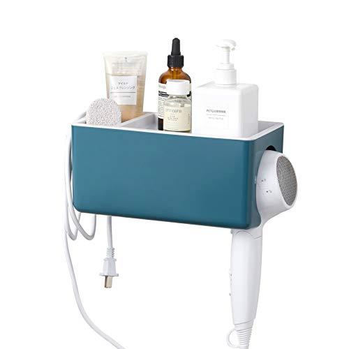 QIVANLIFE Hair Dryer Holder Shelf Storage OrganizerAdhesive Wall Mounted No Driling Hair Dryer Basket Accessories Holder Rack Shower Caddy for Bathroom for Normal Hair DryerBlue