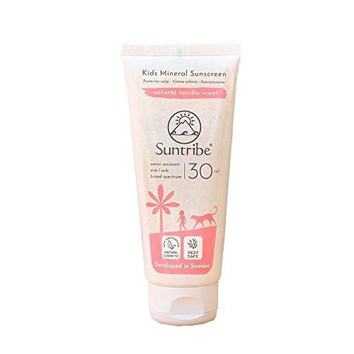 Suntribe Mineralische Bio-Kindersonnencreme LSF 30 - Mit natürlicher Vanille - Mineralischer UV-Filter (Nanofreies Zinkoxid) - Riffsicher & Biologisch abbaubar - 8 Inhaltsstoffe - Wasserfest (100 ml)
