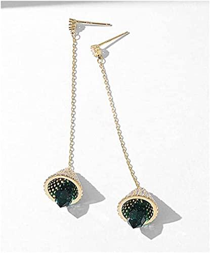 NC110 Collar con Colgante Par de Pendientes Largos Verdes Accesorios de joyería para Mujeres para niñas S925 Regalo de Moda Noble con Aguja de Plata YUAHJIGE