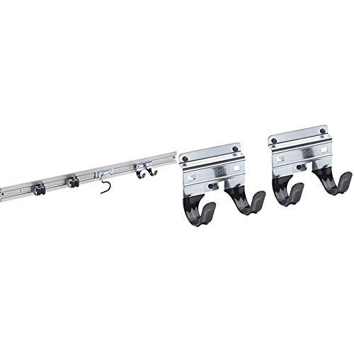 Meister Gerätehalterleiste 800 mm - Geräteleiste & 4 Gerätehalter - Aluminium - 9953360 & Gerätehalter Doppelhaken - 2 Stück, lose - Leichte Montage - Für T-Griffe / Wandhalter / Werkzeughalter