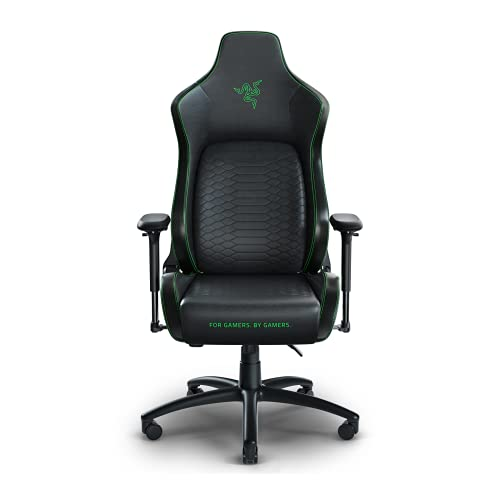 Razer Iskur XL Gaming Chair: Ergonomic Lumber Support System - Multi-Layered Synthetic Leather Foam Cushions - Engineered to Carry - Memory Foam Head Cushion - Black/Green