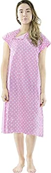 Utopia Care Hospital Gown 100% Cotton Patient Gown  Pink Small/Medium