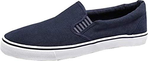 Para hombre Azul Marino Textil Gusset Casual Slip On náuticos zapatos, color Azul, talla 41.5