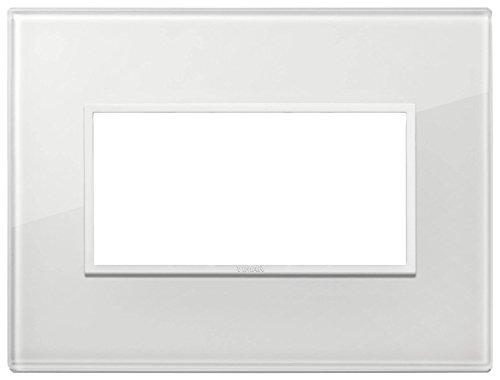 Vimar Serie Eikon Evo–Placca 4Moduli vetro Serie Eikon Bianco Total diamante
